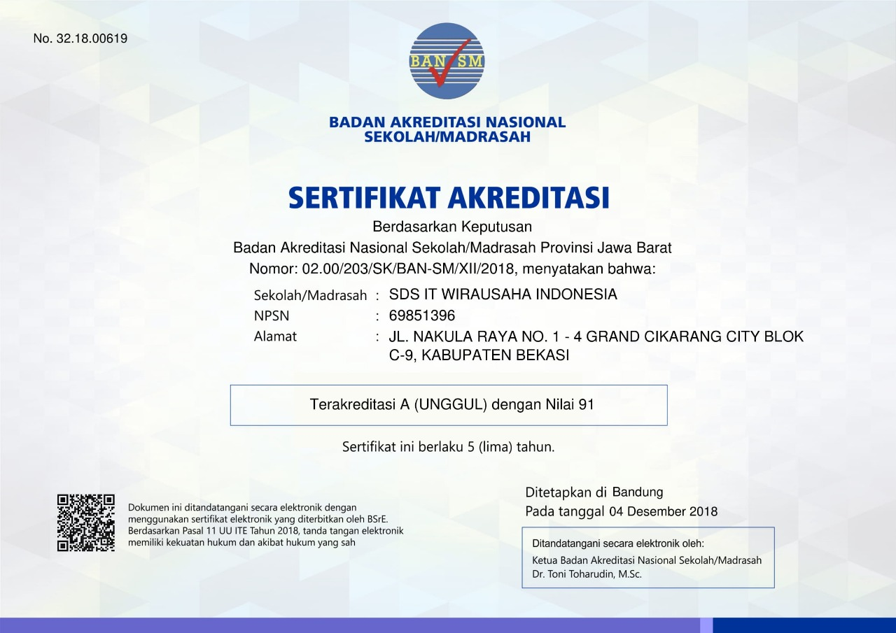 "SDIT Wirausaha Indonesia Mendapat Nilai Akreditasi ""A"""